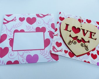 love card love Valentine heart with envelope and heart wood