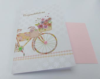 folded card Congrats congratulations bike and flower with Rhinestones and buttons card with envelope
