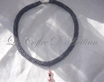 Silver Choker necklace in knitting and pink beads
