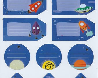 Stickers labels spaceship space Santa Claus: 18 cm x 15.5 cm scrapbooking