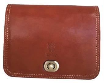 Vintage women Cognac leather shoulder bag