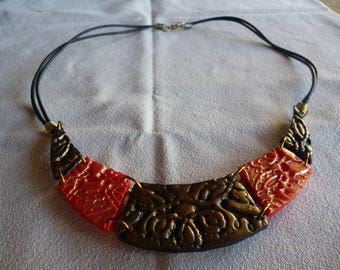 Black and Red polymer bib necklace