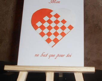 "Card ""my heart beats for you"" with a braided orange and white heart"