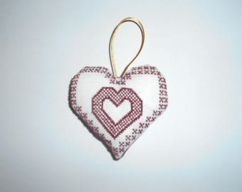 hand embroidered Burgundy heart