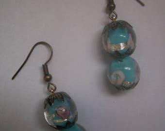 Blue Murano beads earrings