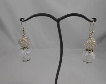 Earrings Crystal Crackle 16 mm + 13 mm filigree bead