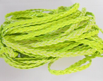 1 m braided leather cord artificial 5 mm in color green