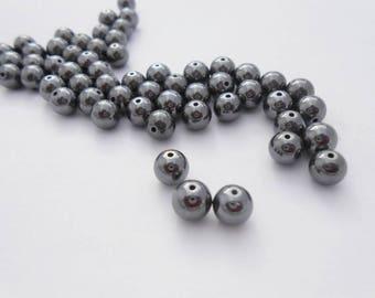 Natural Hematite round 6.4 beads 10 mm