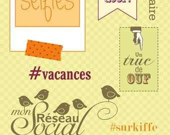 LOT 7 STAMPS SELFIES THING OF EGG JUST TOO MUCH VACATION SCRAPBOOKING 7X14CM SOCIAL NETWORK