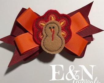 Thanksgiving hair bow - thanksgiving bow - turkey hair bow - turkey bow - fall bows - fall hair bows - thanksgiving accessories