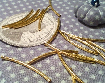 ☆ Set of 50 metal tube beads / gold / geometric stris dug 35 mm☆