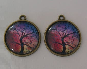 Set of 2 pendants 20mm on support(medium) cabochon bronze