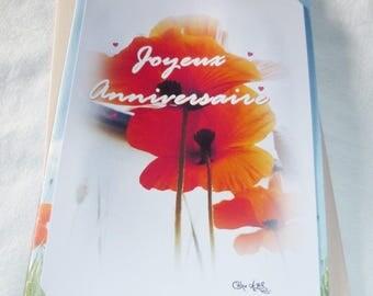 Carte double d'anniversaire réalisée à partir de photos de coquelicots de Céline Photos