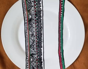 One of a kind handpainted ceramic plate