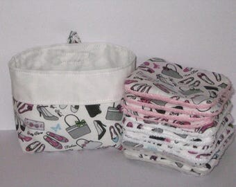 """12 wipes washable for make-up removal, for woman """"fan"""" of accessories, bag and shoes, lined in organic bamboo Terry"""