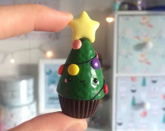 Cupcake tree Christmas ornaments, polymer clay pendant.