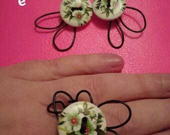 earrings and ring handmade