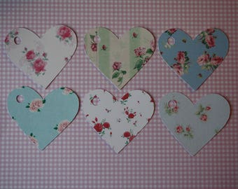 Heart shaped 12 liberty tags (6 different patterns) for scrapbooking, wrapping gifts or table decoration