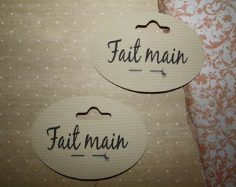 """Set of 12 labels or tags """"handmade"""" for your creations"""
