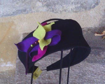 headband flower in black and multicolor peacoat