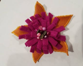 Dandelion yellow and Fuchsia felted brooch and beads only