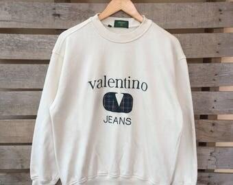 Rare! Vintage Valentino Jeans Sweatshirt Big Logo Jumper Pullover 90s L Size Rare Item