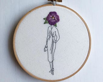 "Modern Embroidery Hoop ""Flower Face Girl: Pansy"" Hand Stiched // Floral ~ Home Decor ~ Wall Art ~ Tumblr ~ Girl ~ Dark & Delightful ~ Sketch"