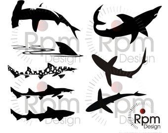 Sharks SVG file, Sharks, Sharks EPS file, Hammer Head, Silhouette, Bundle, Vector, Digital, High Quality, Cuttable,EPS Cricut, Silhouette