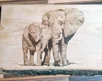 Elephant pyrography art