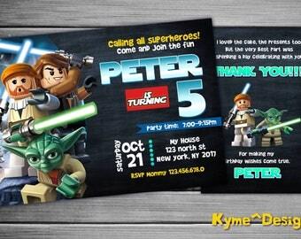 Lego Invitation, Lego Starwars Personalized Birthday Invitation, 5x7 Printable Card, Lego Birthday Party, Lego Birthday Card