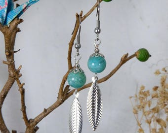 Amazonite and silver leaf charms earrings