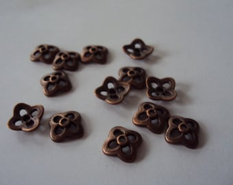 """Flower"" caps copper 4 petals"