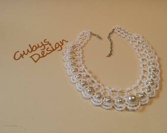 Necklace in Occhi-style, pearl necklace, Tatting, Occhi, fashion jewelry