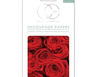 Paper patch (3 sheets) Red Roses - CCDECP0127