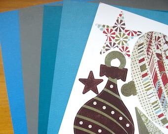 1 Board of chip board Christmas theme sticker + 4 plain leaves no. 2 30x30cm