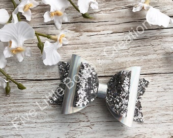 Hair bow, silver bow, hair clip, bow, shiny, hair accessories