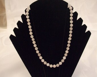 Crystal healing, necklace rose Quartz beads 8 mm and 52 cm long
