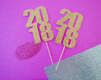 12 Graduation Cupcake Toppers, Class 2018 Cupcake Toppers, Graduation Party, Gold Glitter Toppers