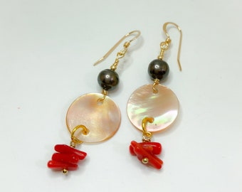 Mussel Shell Earrings, with Dangled Pearls, Red Coral