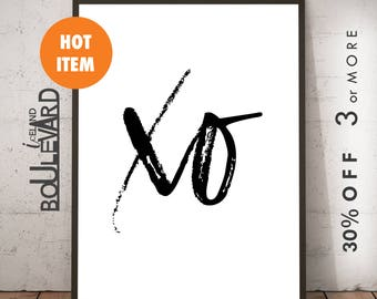 Black And White Print, Fashion Prints, Fashion Wall Art, Fashion Poster, Fashion Art Print, Printable Art, XO Print, Digital Download