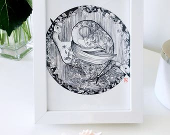 TRINITY- pen & ink linework print