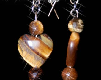 Yellow Tiger eye heart earrings
