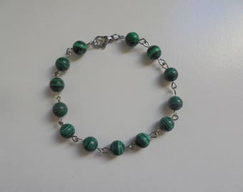 Natural stone Malachite beaded bracelet