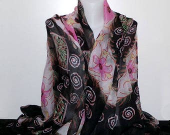 Black and pink with flower motifs and spiral scarf