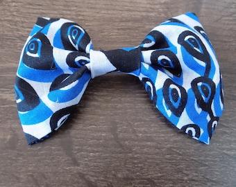set of four blue/black/white fabric bows