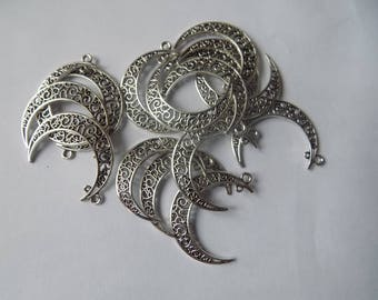 Antique silver 32x38mm Moon charms