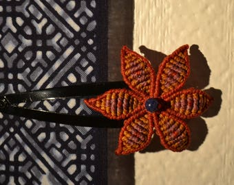 India Macrame flower hair clip