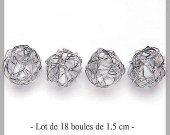 Set of 18 beautiful silver wire of 1.5 cm balls - new