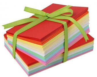 Wholesale lot of cards and envelopes set of 10 colors, size C6 11.4 x 16.2 cm, 100 pieces.