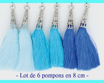 Set of 8 cm - Blue shades - tassels tassels 6 pcs - Artemio - new